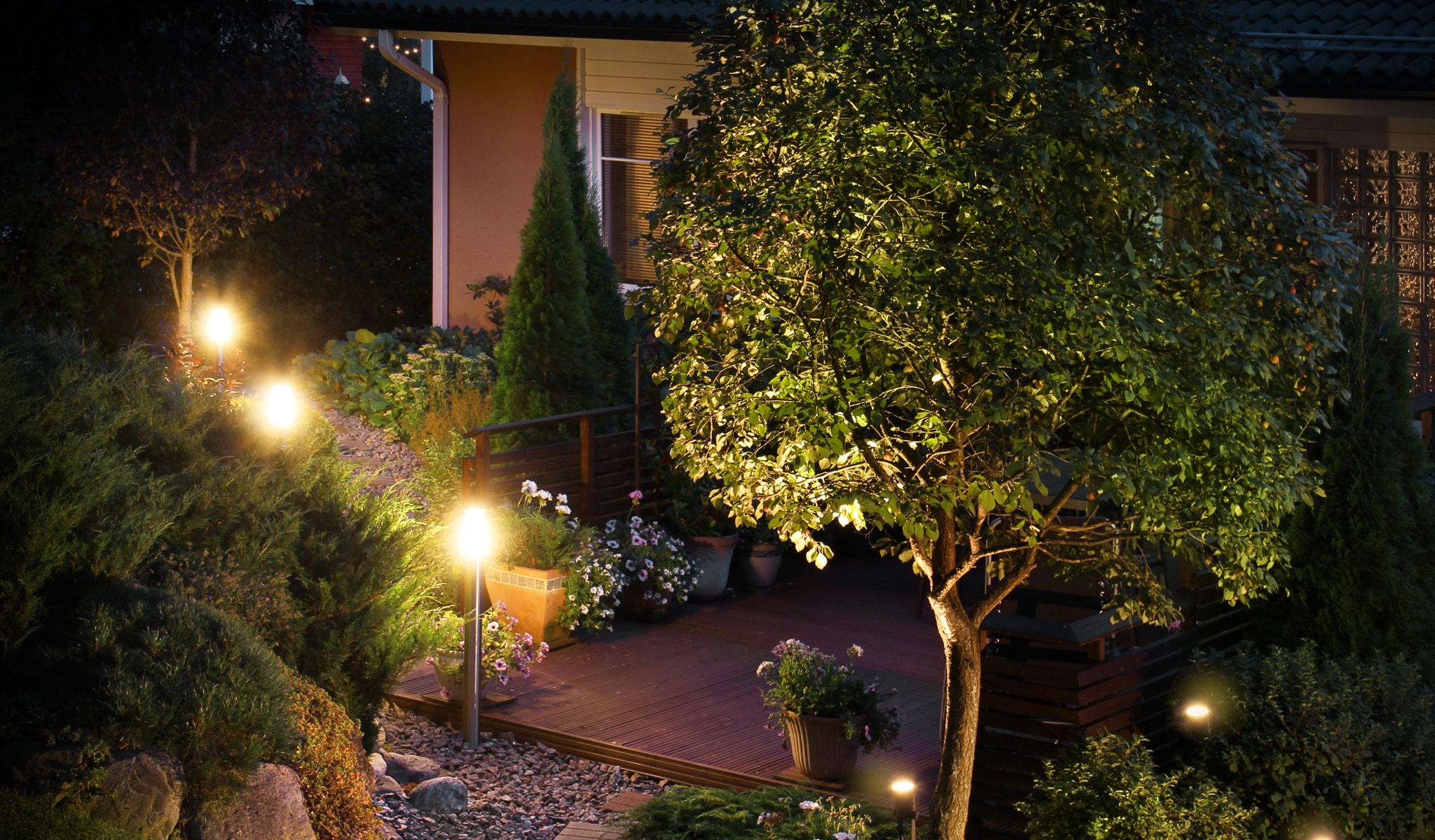 backyard patio with trees and landscape lighting
